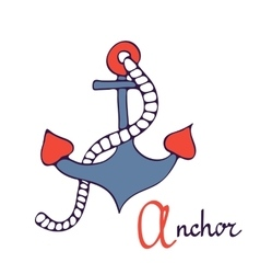 Nautical anchor A is for Anchor vector image