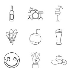 Noisy night icons set outline style vector