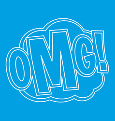 Omg comic text sound effect icon outline style vector
