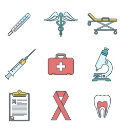 outline colored medical icons set vector image