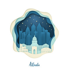 Paper art of atlanta origami concept night city vector