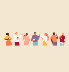 people group drinking coffee vector image