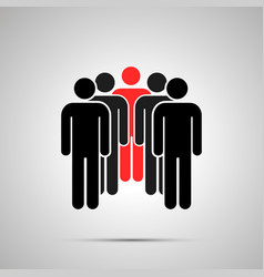 peoples silhouette with red leader simple black vector image