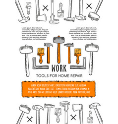 poster of work tools for house repair vector image