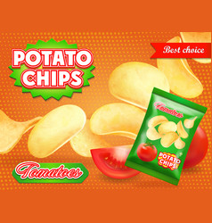 Potato chips ads with tomatoes advertising vector