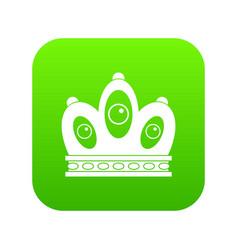 Queen crown icon digital green vector