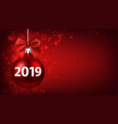 red 2019 new year background with christmas ball vector image