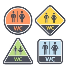 Restroom symbols set flat signs retro color vector image