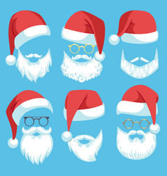 santa hats and beards christmas elements white vector image