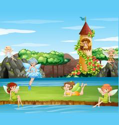 Scene with fairies flying in garden vector