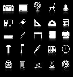 School icons with reflect on black background vector