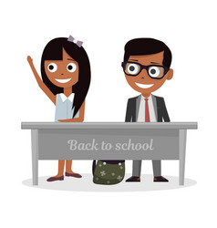 schoolgirl and schoolboy sitting at desk and raise vector image