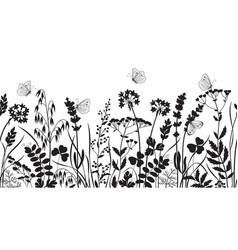 seamless border with wild flowers and butterflies vector image
