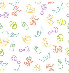 Seamless pattern of baby icons and symbols vector