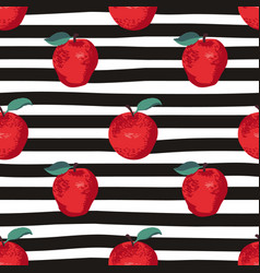Seamless summer pattern with apples on black and vector