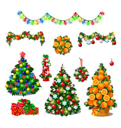 set cute christmas tree colorful garlands new vector image