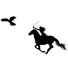 Silhouette of an amazon warrior woman riding a vector