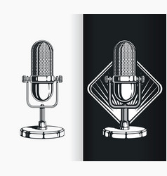 silhouette vintage radio podcast old microphone vector image