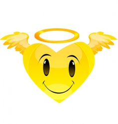 Smiley angel heart vector