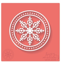 Stamp of snowflake with shadow vector image