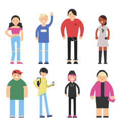 stylized characters of hipster peoples male vector image