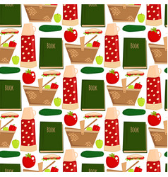 Summer picnic basket products wine seamless vector