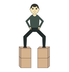 the guy is standing on the boxes vector image
