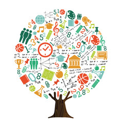 Tree of school subject icons for education concept vector