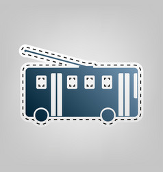 trolleybus sign blue icon with outline vector image