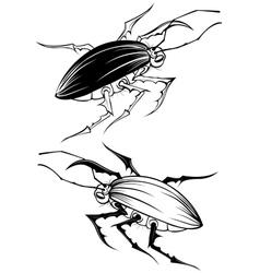 two stylized beetle vector image vector image
