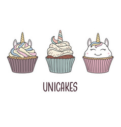 Unicorn cupcakes vector