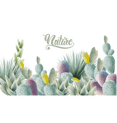 Watercolor green cactus and palm leaves background vector