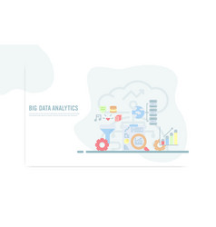 web design template with flat icons big data vector image