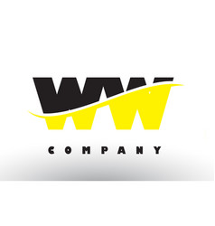 Ww w black and yellow letter logo with swoosh vector