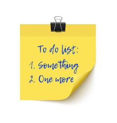 Yellow sticker paper post it checklist vector