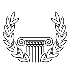 antique Greek column and laurel vector image