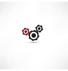 black cogs gears on white background vector image