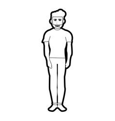 Black silhouette cartoon full body man with beard vector
