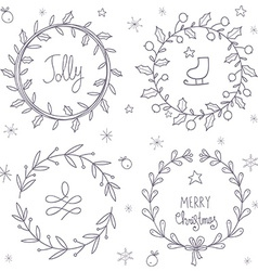 Christmas wreaths set vector image vector image