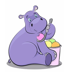 Funny hippo eating ice cream vector image