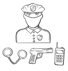 Policeman with handcuffs and gun sketches vector image vector image