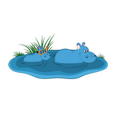 animals of zoo hippo family vector image