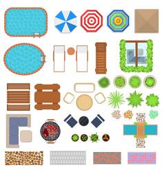 cartoon landscape design elements set top view vector image
