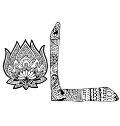 letter L decorated in the style of mehndi vector image vector image