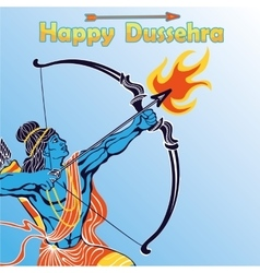 Lord Rama portrait with bow arrowHappy Dussehra vector image