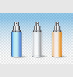 transparent realistic cosmetic bottles can sprayer vector image vector image