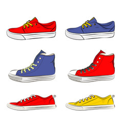a set of sports shoes vector image vector image