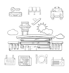 Airport and flight service sketch design vector image