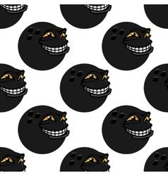 Seamless pattern with cartoon bowling balls vector