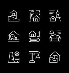 set line icons of architectural vector image